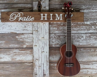 Christian Instrument Reclaimed Wood Wall Mount for the Ukulele, Wood Stained