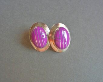 Lovely sterling navajo sugilite earrings, navajo earrings, mexican sterling earrings, sugilite earrings, purple sterling earrings, sterling