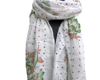 Floral print scarf/ cotton scarf/ polka dots  scarf/ gift  scarf / white scarf/ /  gift ideas.
