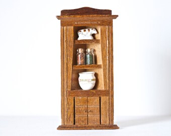 Miniature Corner Cabinet - Mid Century furniture - Doll House Decor