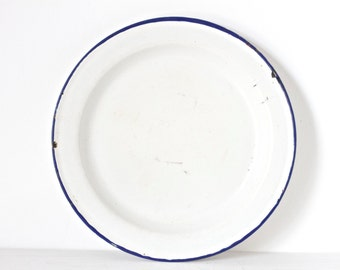Classic Enamelware Plate Dish - White with Navy Blue Rim