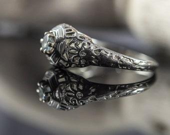 Antique 18k White Gold Filigree Blue Topaz Engagement Ring