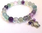 Gemstone Stretch Bracelet/ Beaded Bracelet/ Natural Rainbow Fluorite Beads Bracelet
