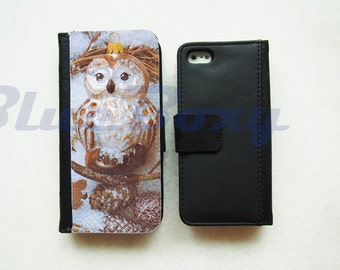 Lovely Owl Wallet Case - iPhone 6 Case, iPhone 6 Plus, iPhone 5, iPhone 5s, iPhone 4, iPhone 4s, Leather Wallet Case, Flip Case