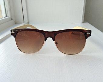 Joanna - Brown Frame Bamboo Sunglasses - Wooden sunglasses for Women, Clubmaster sunglasses, wooden cat eye, hipster wooden sunglasses