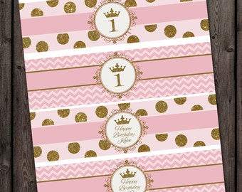 pink gold princess water bottle labels, Royal princess water bottle labels, printable, customized with name and age, pink gold crown chevron