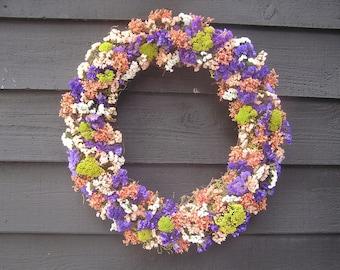 Valentine Dried Wreath, Spring Door Wreath, Office Wall Decor, Wedding Wreath, Everyday Wreath, Rustic Dried Wreath, Country Wall Wreath