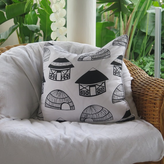 Black & White Cushion / Tribal Zulu Hut Pop Art