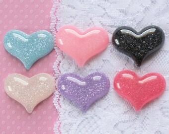 6 Pcs Big Assorted Glittery Love Heart Cabochons - 30x25mm