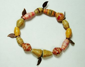Handmade Paper Bead Bracelet  Light Fall Tones Jewelry Accessories (Fall Leaves)