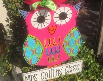 Owl Door Hanger, Teacher Door Hanger, Teacher Appreciation
