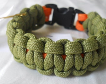 Drab Olive Green and Day-Glo Orange 6.5 Inch Paracord Bracelet Item #139