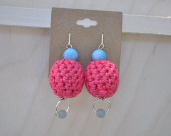Silver Earrings - Beaded Jewelry - Pink and Blue