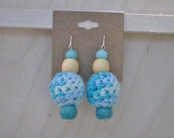 Earrings - Jewelry - Blue - Crochet