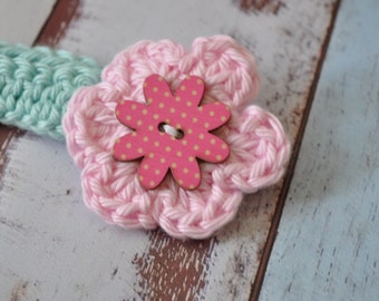 Baby Headband - Pink and Aqua - Flower