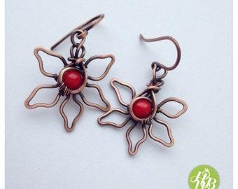 Passion red flower earrings - coral earrings - wire flower earrings - copper flower - flower jewelry - red earrings - wire wrapped flower