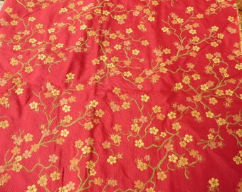 COUPON of FABRICS(TISSUES) for furnishing, reversible, flowers of Japanese cherry trees, ochre on red or red on ochre