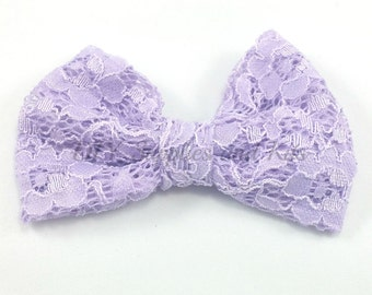 """4"""" Lavender lace bow for attaching to headbands & hair clips, Fabric bows, Headband bow, Birthday favors, Lavender bows, Baby girl bows"""