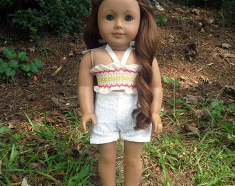 18 inch doll pink and yellow halter and shorts