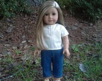 american girl doll creme shirt and denim pants