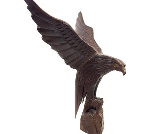 """Vintage 17"""" Carved Wood Eagle with Outstretched Spreading Wings, 17"""" Tall by 15"""" Wide"""