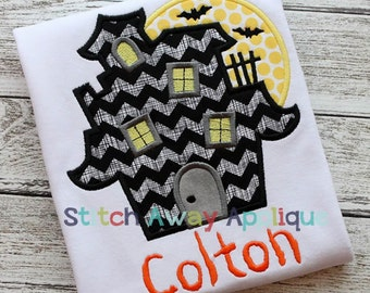 Haunted House Halloween Machine Applique Design