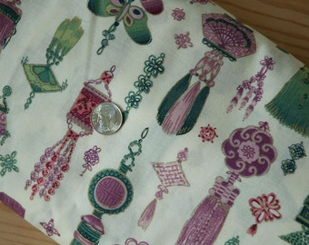Large cut of cotton fabric with Asian knot motif