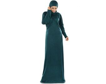 MyBatua Zayba Jersey Teal Abaya AY-274 Occasion and Party Wear Burqa| Islamic Hijab Clothing Jilbab| Muslim Dress Burka