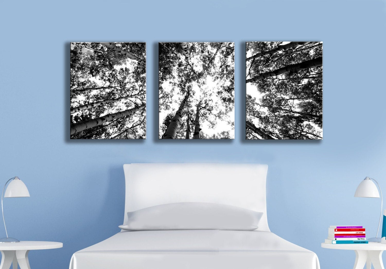 Wall Art Multi Canvas : Three multi canvas grouping wall art black and white aspen