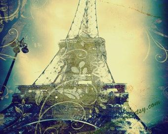 Eiffel Tower Decor, Paris Eiffel Tower Art Print, in Blue, Green and Gold, Paris, Paris Photography