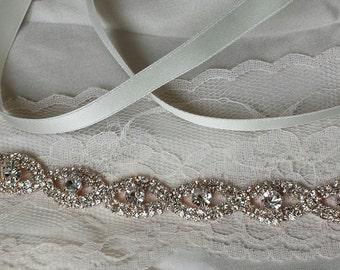 Skinny Rose Gold Bridal Belt, Crystal Bridal Sash