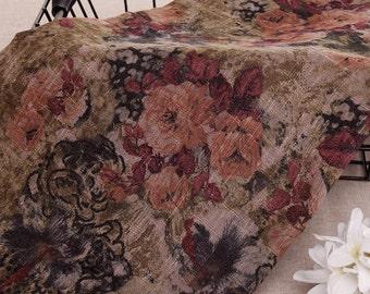 130cm / 51 inch Width, Vintage Style Dark Flower Floral Slub Cotton Fabric, Half Yard