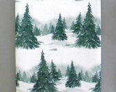 Winter in the Evergeen Forest Christmas Wrapping Paper 10 ft x 2 ft. / 3.048 m. x .60 m. Roll, Green and White Snowy Landscape Gift Wrap