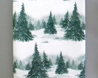Winter in the Evergreen Forest Christmas Wrapping Paper 10 ft x 2 ft. / 3.048 m. x .60 m. Roll, Green and White Snowy Landscape Gift Wrap