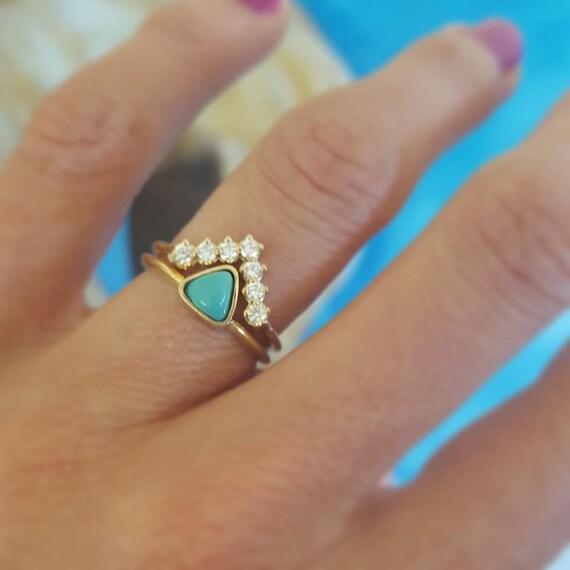 turquoise engagement ring trillion engagement ring diamond wedding set v diamond band with trillion turquoise