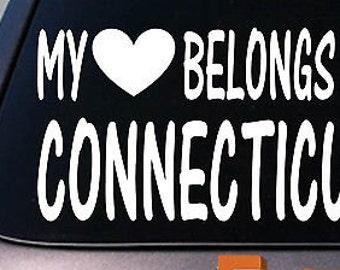 My Heart Belongs To A Connecticut Sticker Decal *E004*