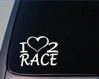 I Heart To Race Sticker *H184* 8 Inch Wide Vinyl 5K Dragracing Decal