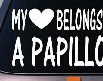 My Heart Belongs To A Papillon Sticker Decal *D916*