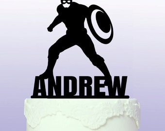 Personalised Captain America Superhero Cake Topper
