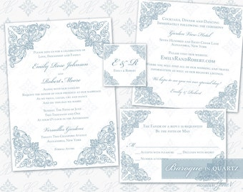 Printable Invitation Set Digital Template | Wedding Instant Download Invitation Suite (5x7) | Baroque in Quartz