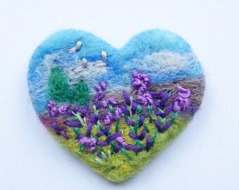 Valentine Day Gift, 'Lavender Meadow' pin, Needle Felt Brooch, wool, Love, Mother, Heart, Valentine, Purple flower brooch, Choose Shape