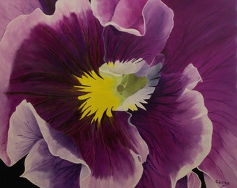 "Original Oil Painting, Flower, Pansy - ""Pansy"" (24"" x 30"")"