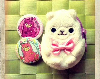 White Alpaca Coin Purse and Pin buttons