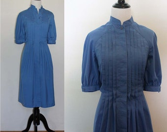 Vintage 1960s California Girl Blue Pleated Shirt Dress