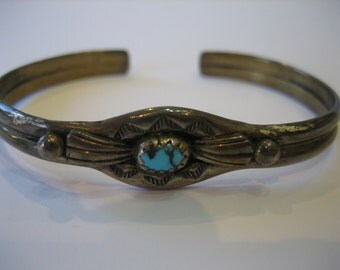 Rare Vintage Navajo Native American Sterling Silver Turquoise Bracelet Signed Mary S. Lew