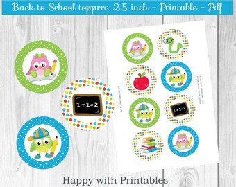 Back to school Toppers - Back to School Cupcake toppers - School stickers - Printable - Instant Download - Happy with Printables