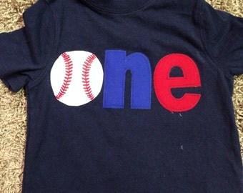 One baseball shirt, 1st birthday shirt, first birthday baseball theme shirt, Sports birthday theme shirt, boys clothing, blue, red, navy