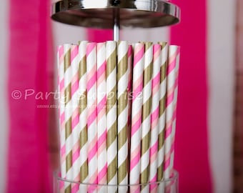 Pink and Gold straws Wedding ,Baby Shower Girl Party Birthday Engagement Anniversary Reception Candy Buffet Pink and Gold Straws