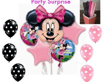 Minnie Mouse Balloon and Straw Party Package, Minnie Mouse Party, Kids Party Balloons, Mickey Mouse Party