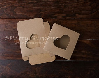 Cookie Boxes Kraft Heart Cookie Boxes, Kraft treat boxes, Kraft candy boxes, Kraft wedding favor boxes